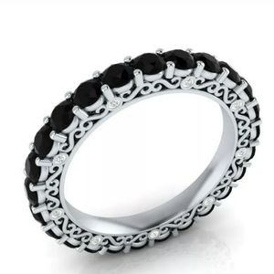 Jewelry - Sterling Silver & Black Sapphires - Size 7